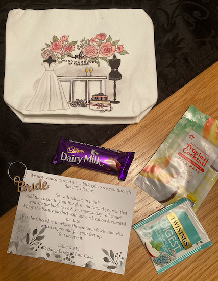 Inside my Wedding Belles makeup bag was a chocolate bar, face mask, teabag and a glass charm